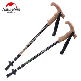 Wholesale T Cork - Wholesale- NatureHike Climbing stick T type Walking Stick Hiking Ultralight Canes Adjustable Aluminum Alloy Folding NH Cane