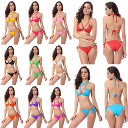 Wholesale Women S Sling Swimsuits - 2017 Hot sling bikini solid color women swimwear bikini set swimsuit Very cheeky brazilian bottom Maillot De Bain Bikini