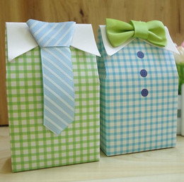 Wholesale paper treat bag - My Little Man Blue Green Bow Tie Birthday Boy Baby Shower Favor Candy Treat Bag Wedding Favors Candy Box gift Bags