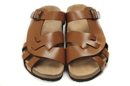 Wholesale Comfortable Gold Sandals - New Famous Brand Arizona Flat Sandals Men's Women Comfortable Shoes Female Single Buckle Slipper Genuine Leather Slippers With Orignal Box