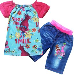 Wholesale Girl Kid Jean Shirt - Girls Cartoon Trolls Sets New Children Kids Baby Top T-shirt +Denim Pants Suits Summer Short Sleeve Jean Clothing PX-S29