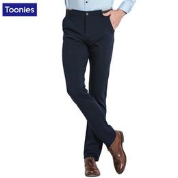 Wholesale European Men Business Suits - Wholesale- Elastic Mens Pants 2017 Spring Casual Slim New Fashion Solid Straight Suit Pants Men European Trousers Business Brand Clothing