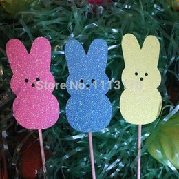 Wholesale Easter Bunny Shower - Glitter Easter Bunny Cupcake Topper baby bridal shower birthday food Picks wedding party cake topper decorations