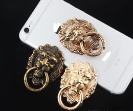 Wholesale Lion Buckle - 2017 new style Lion head, universal mobile phone stand, bronze lion head ring support, metal mobile phone ring buckle, lion head