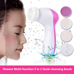 Wholesale Electric Facials Massager - 5 in 1 Multifunction Electric Face Facial Cleansing Brush Skin Care Massager Scrubber Cleansing Brush Spa Battery Operated Set