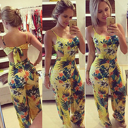 Wholesale Summer Trousers Women - Wholesale- Women Jumpsuit 2016 Summer Sexy Playsuit Bodycon Party Floral Print Jumpsuit Romper Trousers Clubwear Bodysuit free shippin