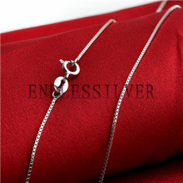 Wholesale Silver Chains For Jewellery - 925 Sterling Silver Box Chain Fits Pendant Gift Sterling Silver DIY Jewellery Necklace for Pearl Party