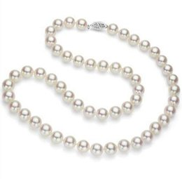 """Wholesale Japanese Akoya White Pearl Necklace - AAAAA Japanese Akoya Cultured Pearl 7mm,14K white Gold Necklace 17"""" Top Grading"""