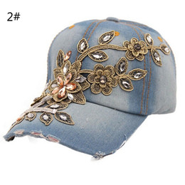Wholesale Rhinestone Floral Bling Wholesale - Wholesale- New Full Crystal Floral Denim Baseball Cap Hip Hop Bling Rhinestone Adjustable Snapback Hat for women