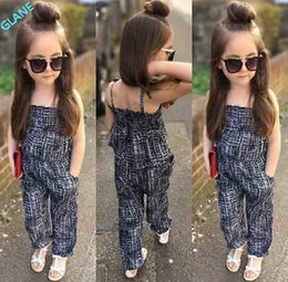 Wholesale Tracksuits For Kids Boy - Wholesale- 2016 New Fashion Kids Baby Girls Backless Overalls Romper Jumpsuit Playsuit Clothes 2-7Y Tracksuit For Girls Clothing Sets