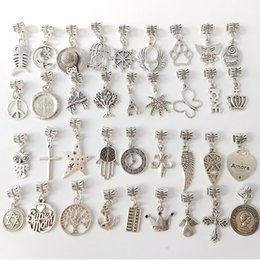 Wholesale Cheap Silver Charm Bracelets - 200 Style Mixed Styles 925 Silver Pendant Charms Beads Alloy Charms Pendant Big Hole Beads Fit European Charm Pandora Bracelet Jewelry Cheap