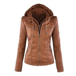 Wholesale Up Hats - Wholesale- Womens New Faux Twinset Detachable Hat Autumn Winter Faux Leather Slim Jacket Hoodie Hooded Zip-up Pockets Outerwear Coats Q4326