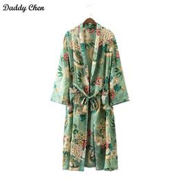 Wholesale Elegant Cardigan Women - Elegant Floral printed kimono blouses shirt women fashion kimono japanese long cardigan Summer bohemian beach belt sashes casual blouses new