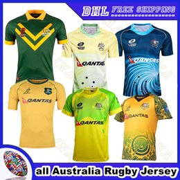 Wholesale Thai Quality Free Shipping - all Australia Rugby Jersey 2018 home away Thai quality football uniform 2017 Men Rugby shirt wholesale Free shipping S-3XL