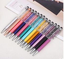 Wholesale Crystal Diamond Stylus Pen - Crystal Top Material Ballpoint Pen Diamond Inside Lady Sw Style touch screen ball pen with stylus for promotionelegent customize logo adve