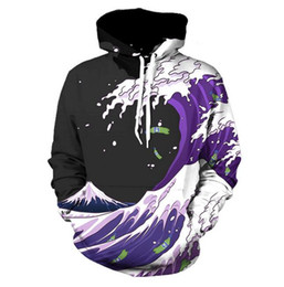 Wholesale Funny Drinking - New Fashion Men Women Purple Drank Waves Funny 3d Sweatshirts Hoodies Autumn Winter casual Print Hooded Pullovers Tops LM0071
