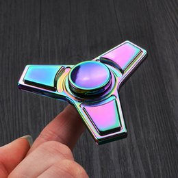 Wholesale Right Angle Mini - Rainbow Zinc colorful triangle finger fingertip gyro right angle Fidget Tri-Spinner Toys Fidgets Hand Spinner Anti Stress Funny gifts EDC