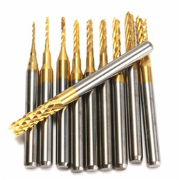 Wholesale Carbide Burr Drill - 10pcs 0.8-3mm Titanium Coated PCB Drill Bits Carbide Engraving Milling Cutter for CNC Rotary Burrs