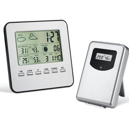 Wholesale Temperature Station Indoor - Digital Wireless Temperature With Sub Machine Humidity Meter Date time Alarm Clock Weather Forecast Indoor Outdoor Weather Station KKA2390