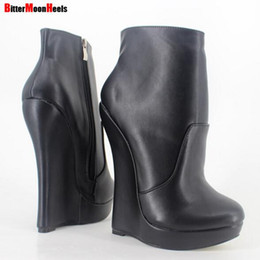 Wholesale Red Platform Wedge Boots - DHL Free shipping Women Fetish Stallion Ankle Boots With Zipper BDSM Platform Runway Rock Star NightClub Shoes Goth Punk Wedges Heeled Boot