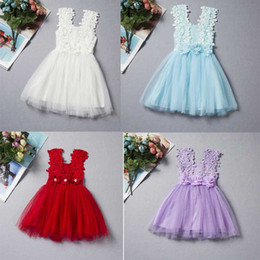Wholesale chiffon tank dress - Hot style new arrivals girls lace flower tank dress little princess summer charming dress candy 6 colors