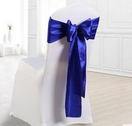 Wholesale Wine Chair Sashes - 25pcs Wedding Satin Chair Sashes Satin Sash for Weddings Events & Banquet &Party Decoration 18*275cm Red Blue Chocolate Wine Red
