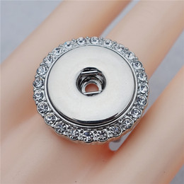 Wholesale Ring Adjustable Brass - Fashion Elastic Adjustable Size Crystal Rhinestone Noosa Chunks Metal Ginger 18mm Snap Buttons Ring Jewelry Wholesale