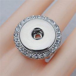 Wholesale Rhinestone Elastic Ring - Fashion Elastic Adjustable Size Crystal Rhinestone Noosa Chunks Metal Ginger 18mm Snap Buttons Ring Jewelry Wholesale
