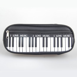 Wholesale Music School Bag - Wholesale- (1Pcs Sell) Piano Style Candy Color I Love Music Pencils Case Canvas School Supplies Bts Stationery Estuches School Pencil Bags