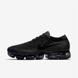 Wholesale Genuine Patch Leather - original Vapormaxes 2018 Mens black running shoes maxes rubber patch 2017 hot sale top quality Vapor Maxes Breathable basketball shoes rise