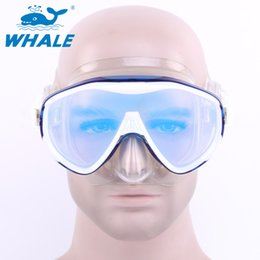Wholesale Tempered Glass Goggles - Wholesale-WHALE Brand Tempered Glass Lens Adult Dive Underwater Diving Face Mask Scuba Snorkel Swimming Goggles For men women