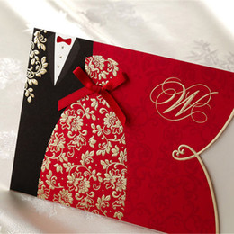 Wholesale Envelope Wedding Card - Wholesale-1pcs Sample Red Bride and Groom Laser Cut Wedding Invitations Card Personalized Custom Printable with Envelope & Seals