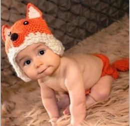 Wholesale Infant Knitted Costumes - Newborn Crochet Baby Fox Orange Costume Photography Props Knitting Baby Hat Bow Infant Baby Photo Props free shipping in stock