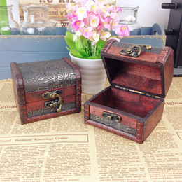 Wholesale Vintage Tool Case - Vintage Jewelry Box Jewelery Organizer Storage Case Mini Container Decorative Wooden Beauty Boxes Free Shipping ZH153