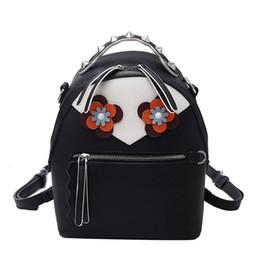 Wholesale Online Flower Shops - Fashion leather backpack pink black and white backpack black leather womens rucksack online shopping for backpacks