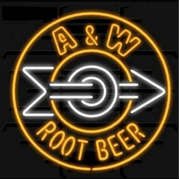 Wholesale Root Beer - Fashion New Handcraft A & W Root Beer Real Glass Tubes Beer Bar Pub Display neon sign 19x15!!!