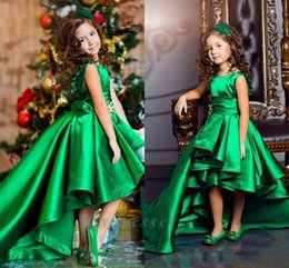 Wholesale Emerald Wedding Dresses - Emerald Green Girls Pageant Dresses High Low Princess Flower Girls Dresses For Weddings Lovely Kids 2017 Communion Dresses