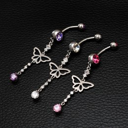 Wholesale Sexy Belly Bars - Pink AAA Zircon Belly Rings Long Dangle Belly Button Ring Silver Plated Sexy Stainless Steel Body Piercing Jewelry Wedding Bars Navel Rings