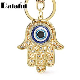 Wholesale Gold Plated Rhinestone Buckle - Lucky Charm Amulet Hamsa Fatima Hand Evil Eye Keychains Purse Bag Buckle Pendant For Car Keyrings key chains holder women K236