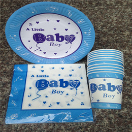 Wholesale Wholesale Napkins - Wholesale- Kids Birthday Party Set Decoration With Napkin Cup Plate blue boy baby shower decoration Event Party Supply For 10 People E106