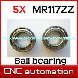 Wholesale Helicopter Shaft - Wholesale- 5pcs MR117ZZ Shielded miniature deep groove ball bearings MR117 MR117Z helicopter model car bearing 7x11x3 mm radial shaft