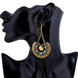 Wholesale Red Tibetan Earrings - Bohemian Indian Handmade Big Round Dangle Earrings Inlay Resin Beads Tibetan Vintage Summer Colorful Ethnic Party Earrings