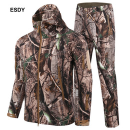 Wholesale Camouflage Waterproof Hunting Jacket - ESDY 2018 Man Winter Outdoor Hunting Sets Waterproof Softshell Tactical Camouflage Hunting Jackets +Military Pants Suits