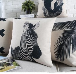 Wholesale Zebra Pillows - Nordic Woods Palm Tree Plants Cactus Cushion Covers Geometric Triangles Mountains Zebra Stripes Pillow Cover Linen Cotton Pillow Case