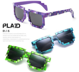 Wholesale Action Plays - 4 color! Fashion Sunglasses Kids cos play action Game Toys Minecrafter Square Glasses with EVA case gifts for Men Women D022