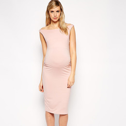 Wholesale Lovely Maternity Clothes - Lovely Pink Elastic Pregnancy Clothes Elegant Maternity Dresses Summer Sleeveless Vest Dress Lycra Office Evening Cocktail Gowns