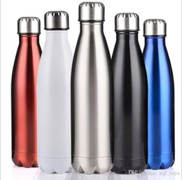 Wholesale Adults Steels - Water Bottle Stainless Steel 500ml Cola Bottle Solid Color Tumbler Rambler Portable Summer Cups for Adults