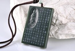 Wholesale Jade Guanyin Pendant - Hand carved natural green jade zen buddha gift good luck chinese guanyin pendant