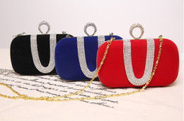 Wholesale-New 2015 Fashion Female Diamond U Shape Diamond Ring Velvet Evening Bag Luxury Finger Clutch Purse Wedding Party Bag With Chain Coupons
