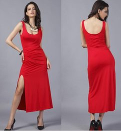 Wholesale Show Ankle Length For Dresses - Stage Showing Hot Dress Evening Dresses For Summer Wedding Party Dress With Split Summer Red Longuette